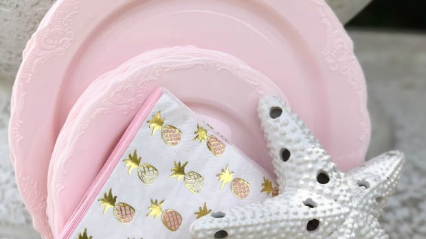 pale pink baby shower paper goods
