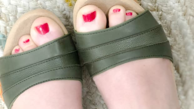 bright red pedicure with sandals
