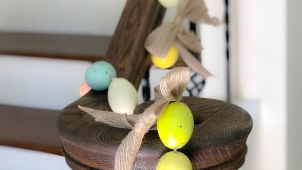 Easter egg garland hanging on banister