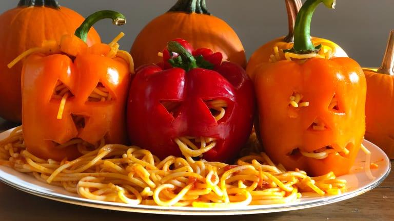 Halloween Dinner Idea: Leaking Jack-o-Lantern Spaghetti Brains