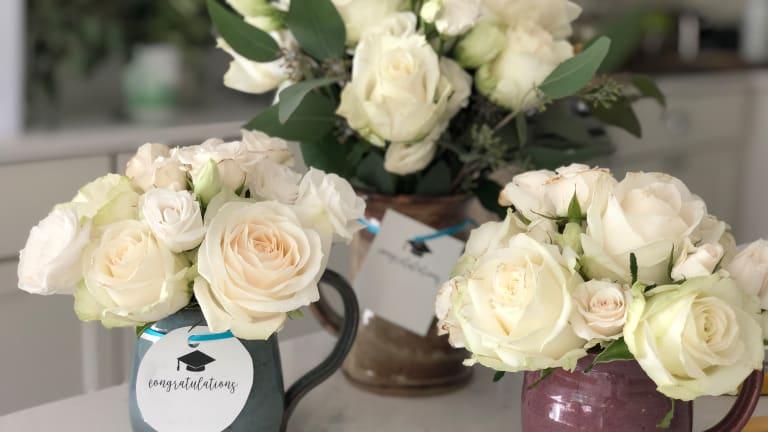 DIY Flower Arrangement Mugs for Graduation