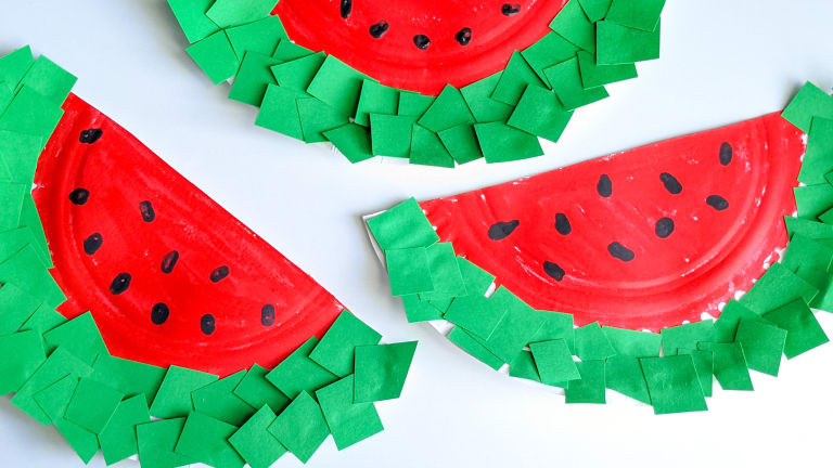 Watermelon Paper Plate Craft for Kids