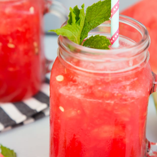 watermelon slush cocktail with mint simple syrup