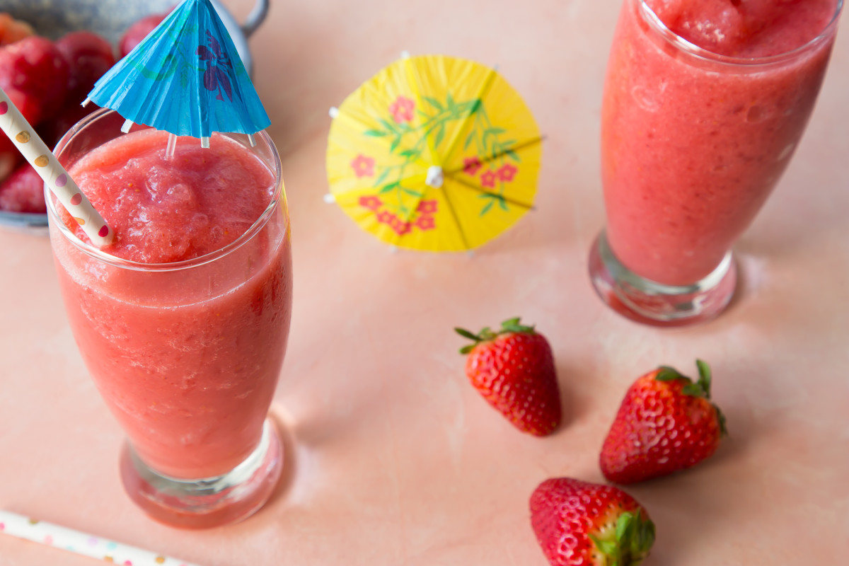 two strawberry banana daiquiris