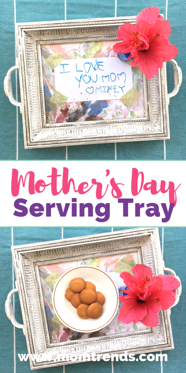 Make this DIY Mother's Day Serving Tray and add your kiddo's art work. Bring Mom breakfast in bed to make it an extra special gift on her day!