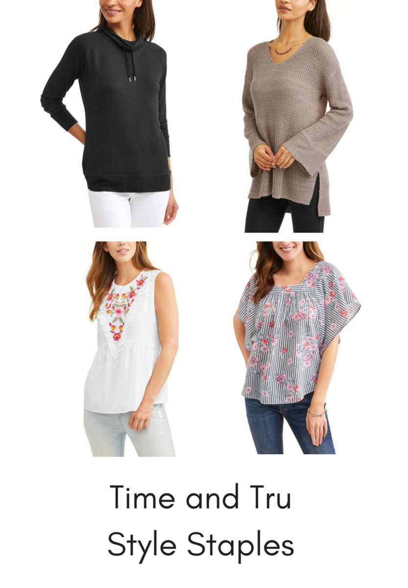 Top left to bottom right: 1. Time & Tru Faded Glory Athleisure Cowlneck Pullover, $15/ 2. Time & Tru Bell Sleeve Sweater, $15/ 3.              Time & Tru Dotted Embroidered Tank Top, $12 /4. Time & Tru Flutter Sleeve Top, $12/