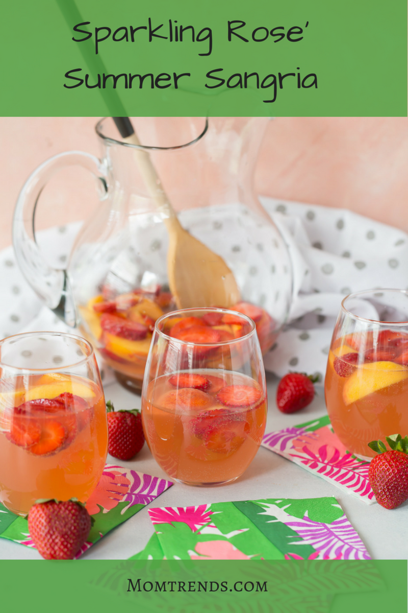 Sparkling Rose' Summer Sangria Cocktail