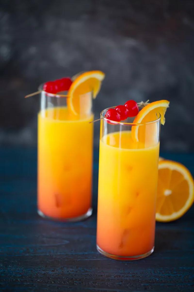 Tequila Sunrise = Tequila + OJ + Grenadine