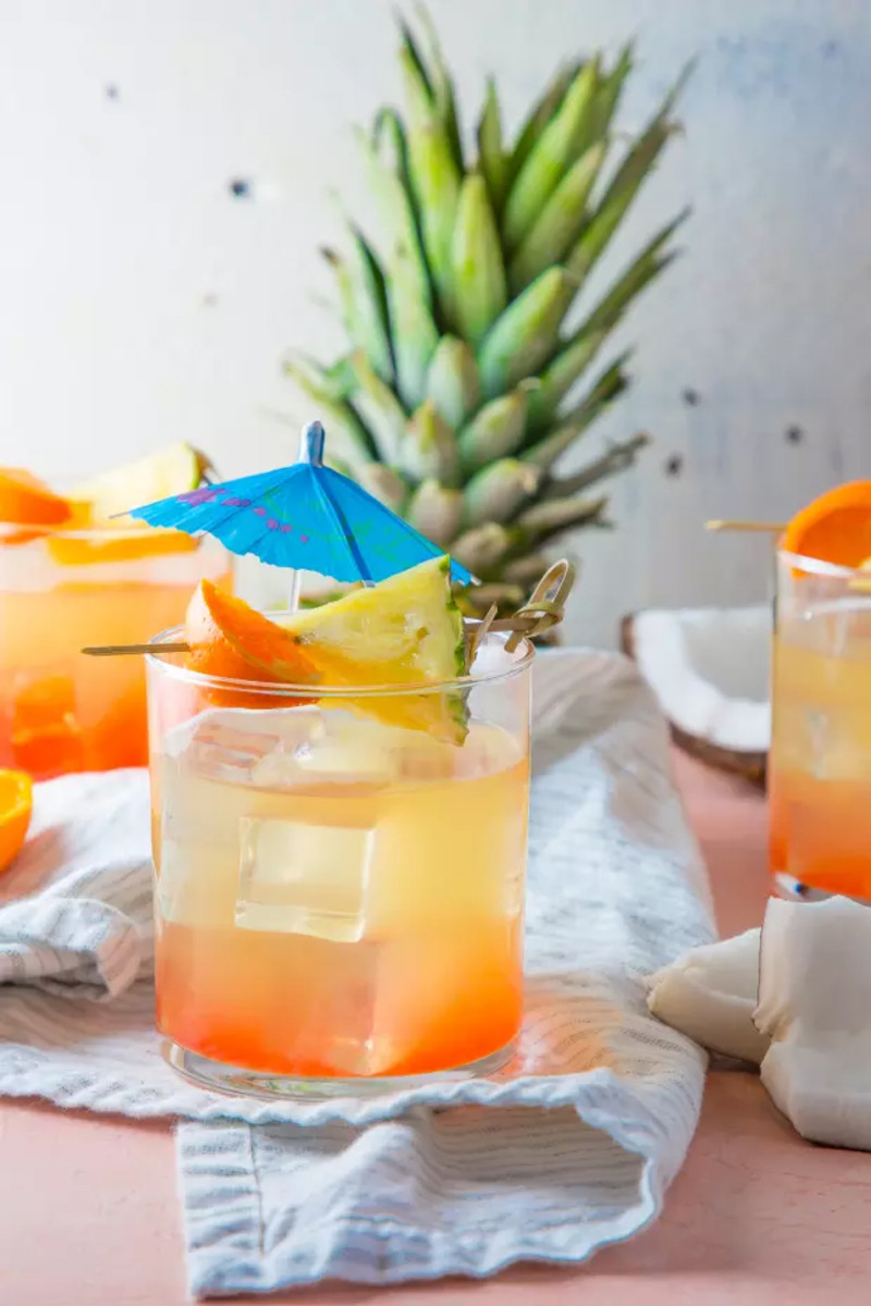 Tropical Cooler = Coconut rum + Coconut water + Pineapple juice + Grenadine