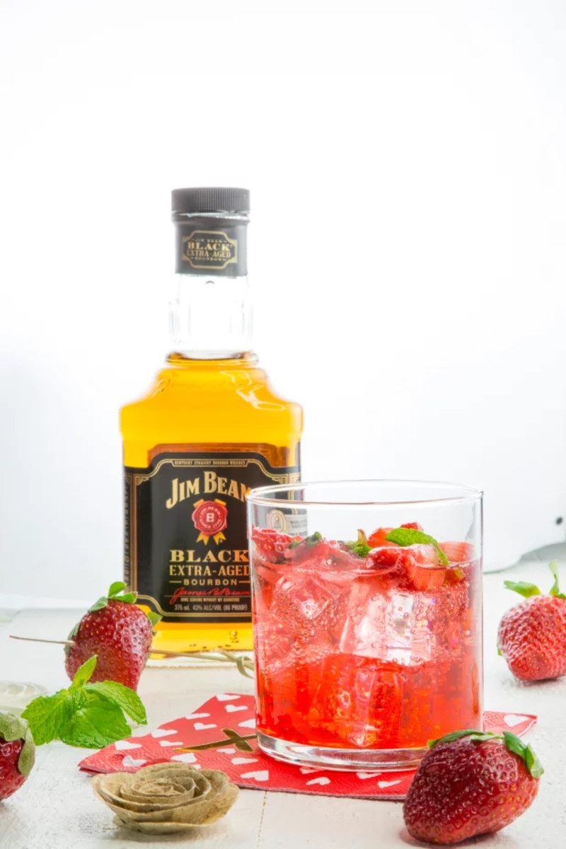 Strawberry-Bourbon Smash = Bourbon + Strawberries + Mint Leaves + Simple Syrup