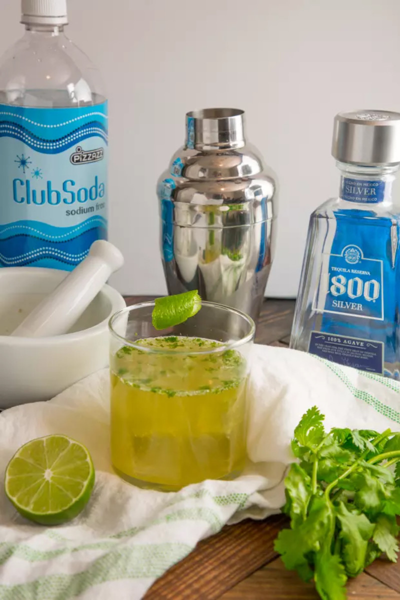 Cilantro-Lime Cooler = Tequila + Club soda + lime + cilantro + sugar