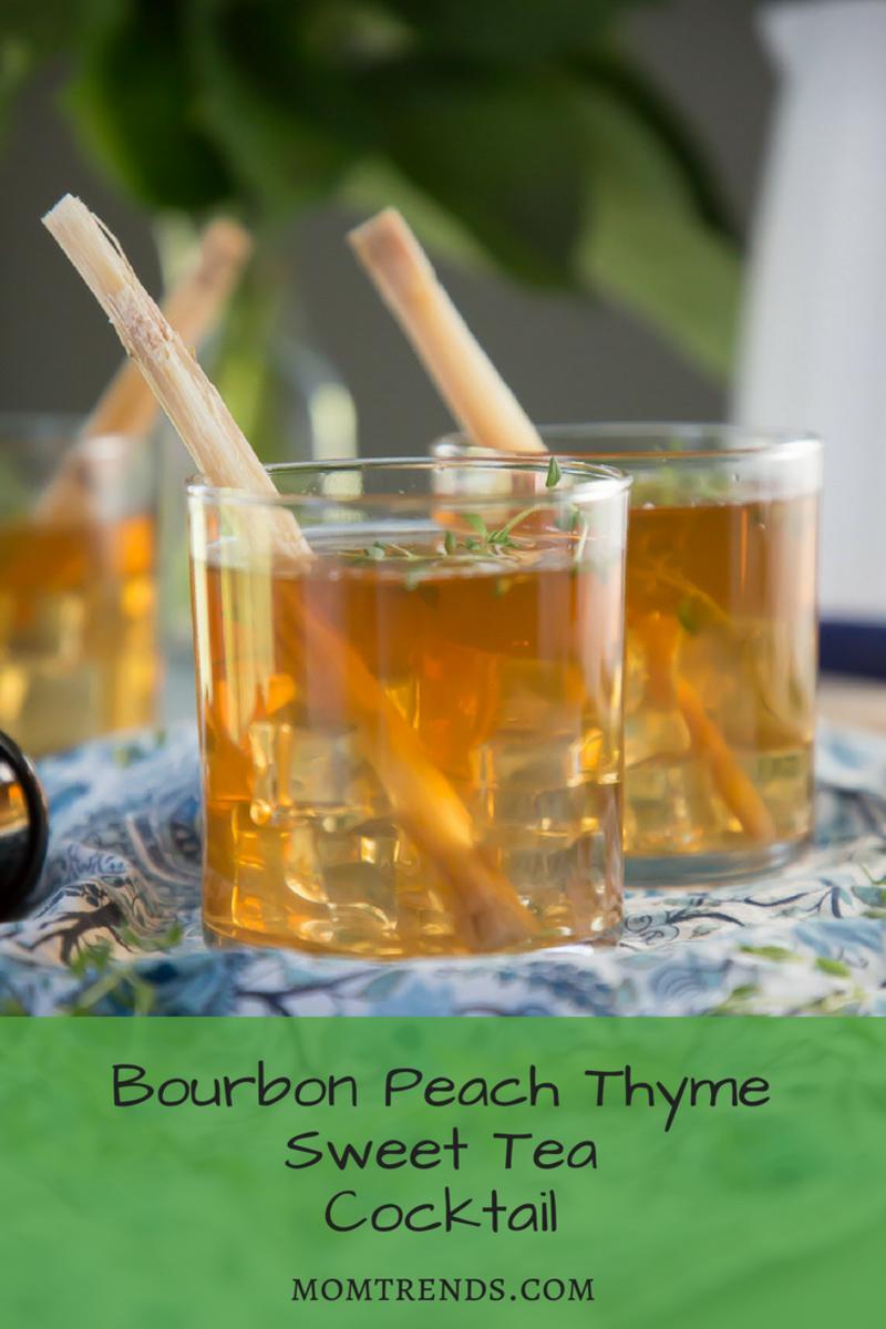 This Bourbon Peach Thyme Sweet Tea Cocktail