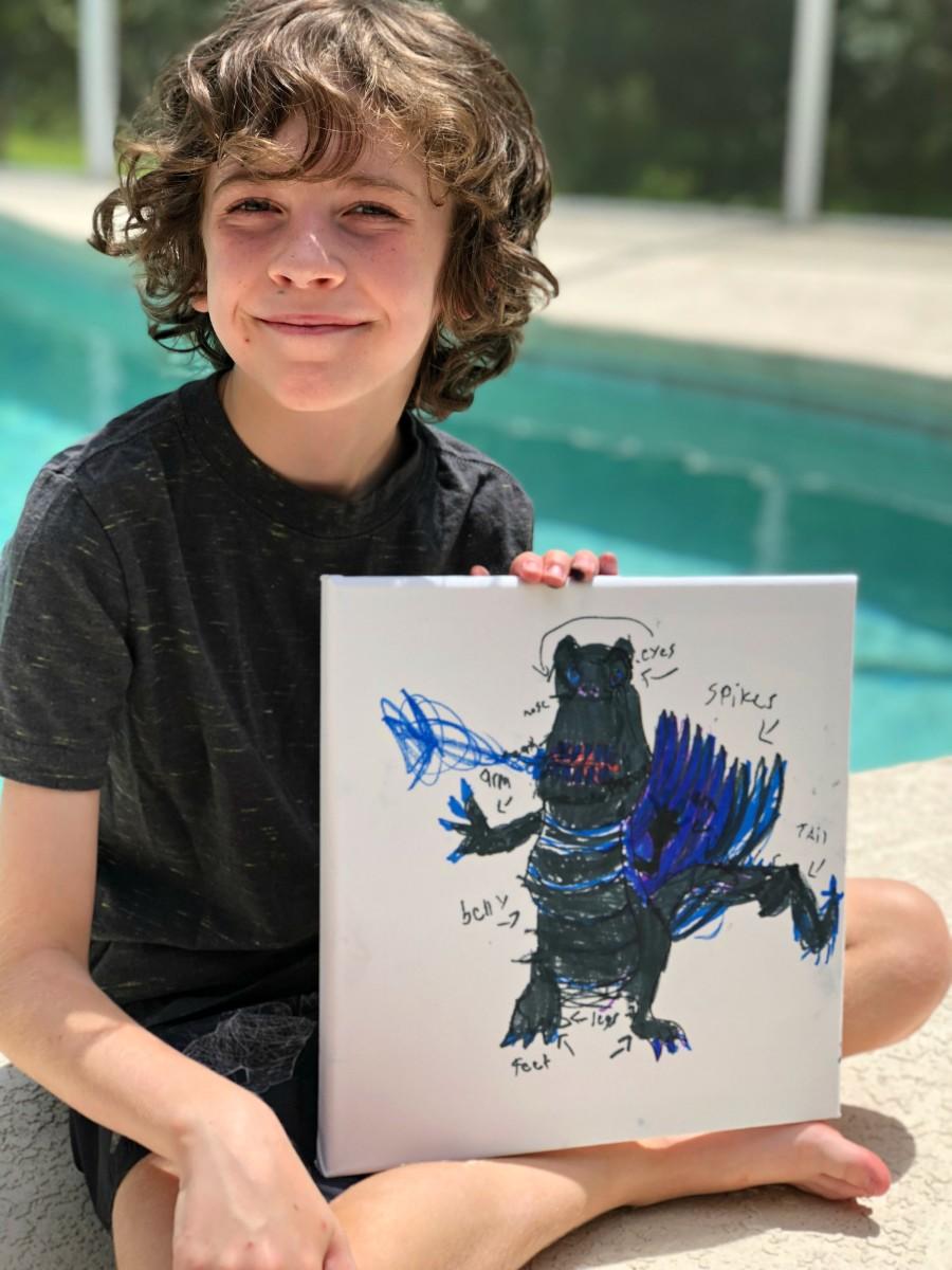 smudge art t-rex
