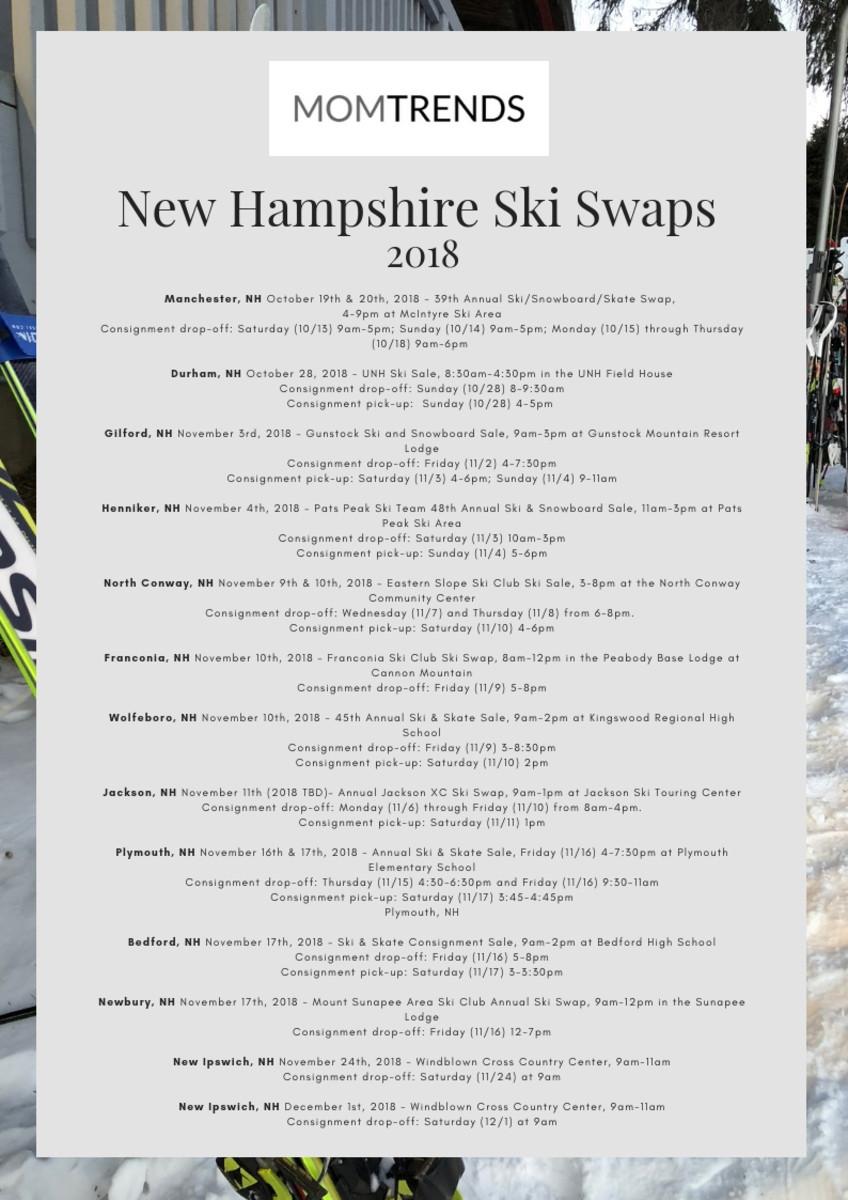 2018 New Hampshire Ski Swaps