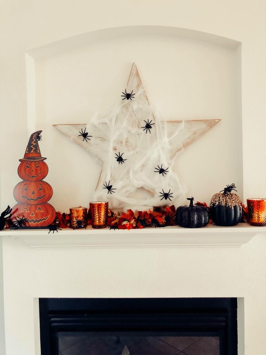 spooky halloween mantle