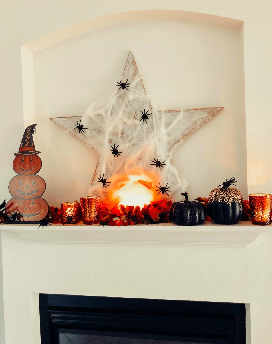 the scariest Halloween mantel around