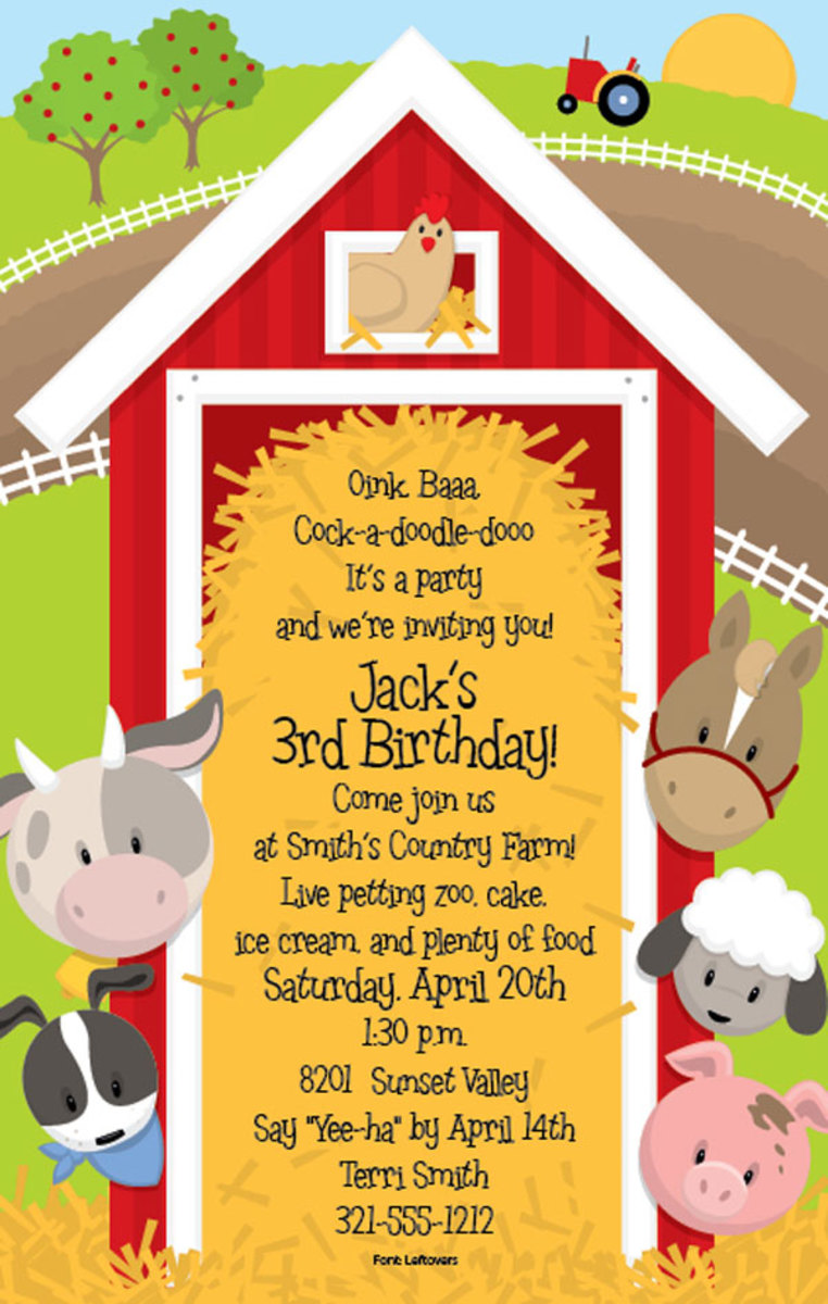 Around the Barn party invite