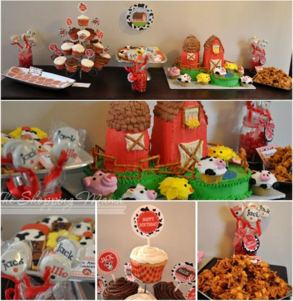 farm theme dessert table birthday party