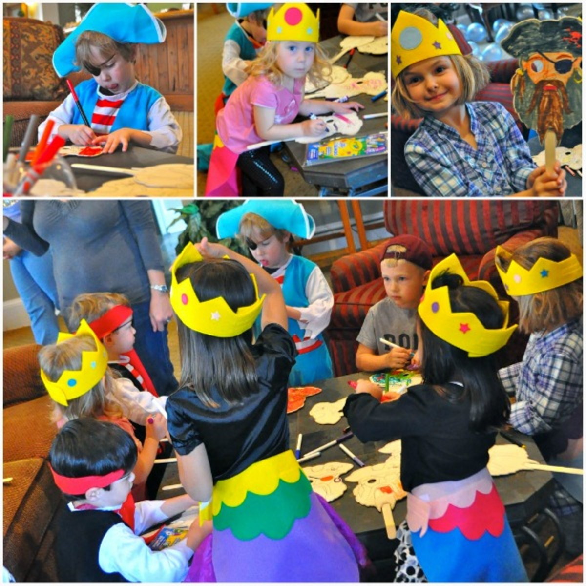 pirate mask coloring at pirate party