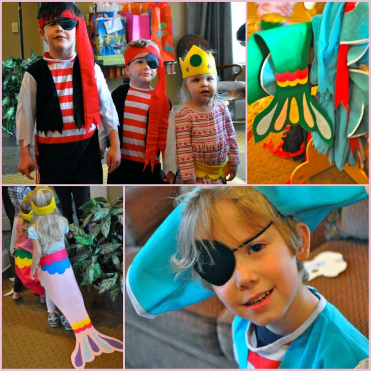 pirate and mermaid costumes at birthday party