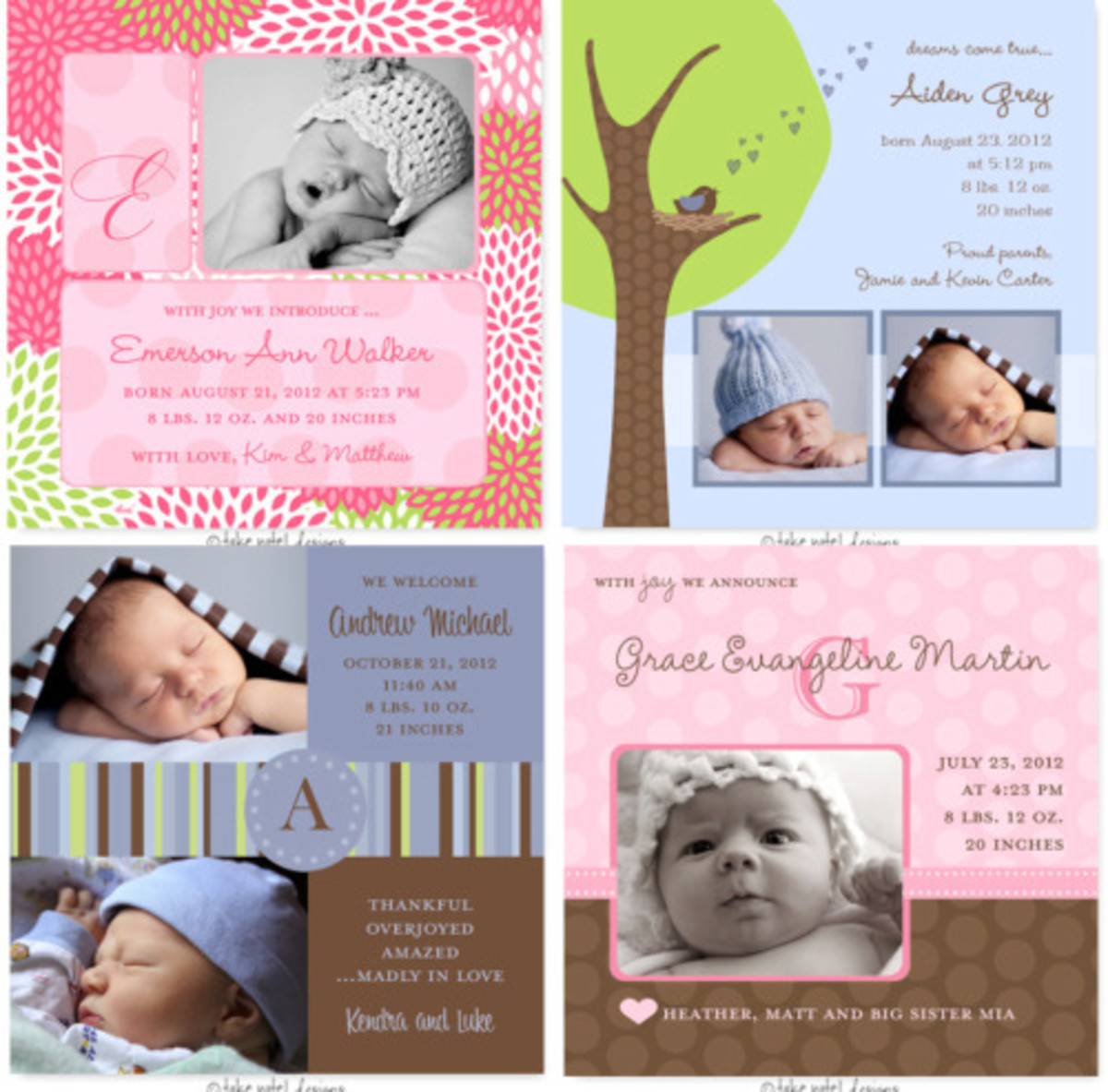 photo birth announcements sweet paper lane