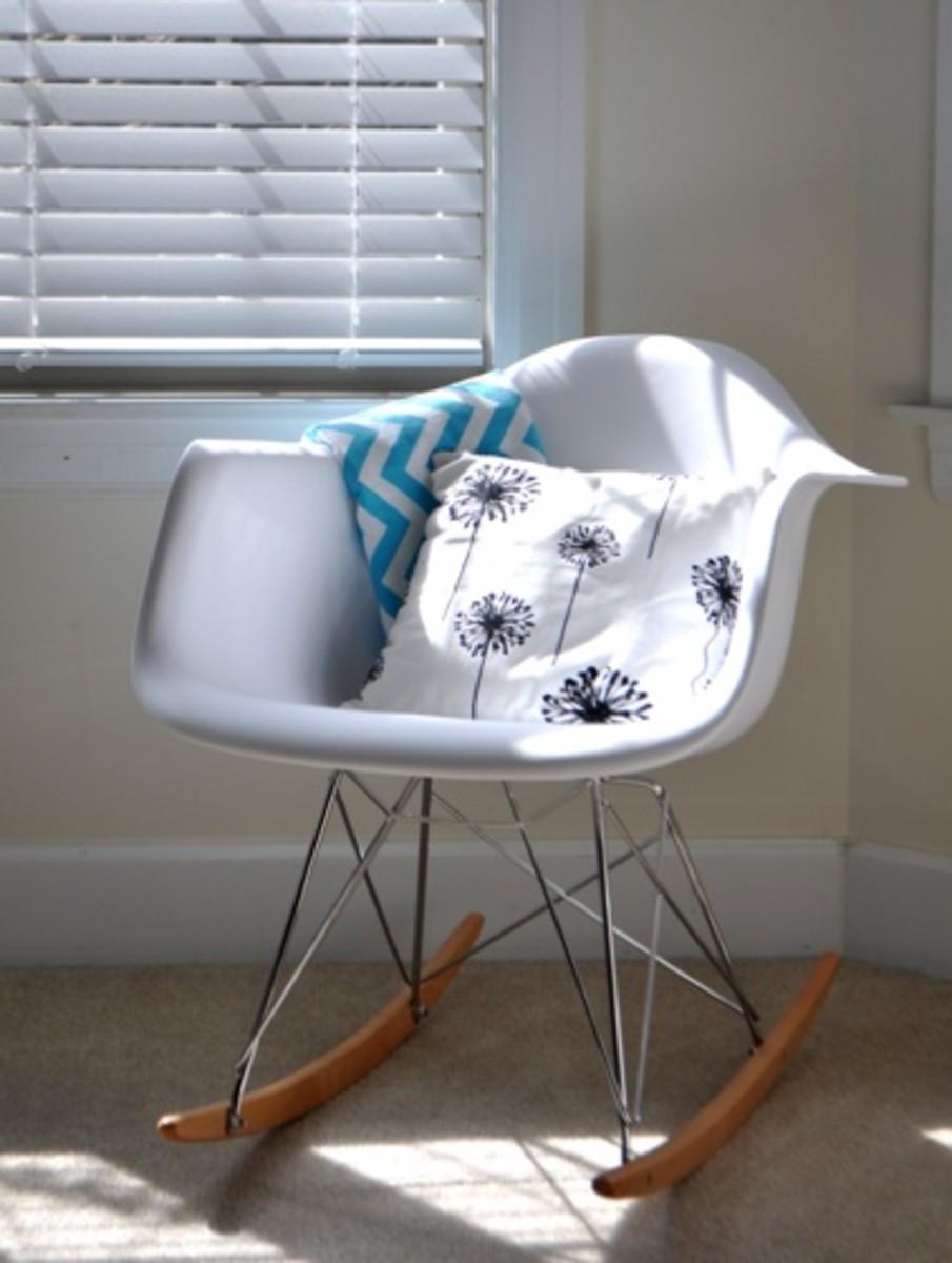 lexington modern white molded rocking chair black white aqua nursery
