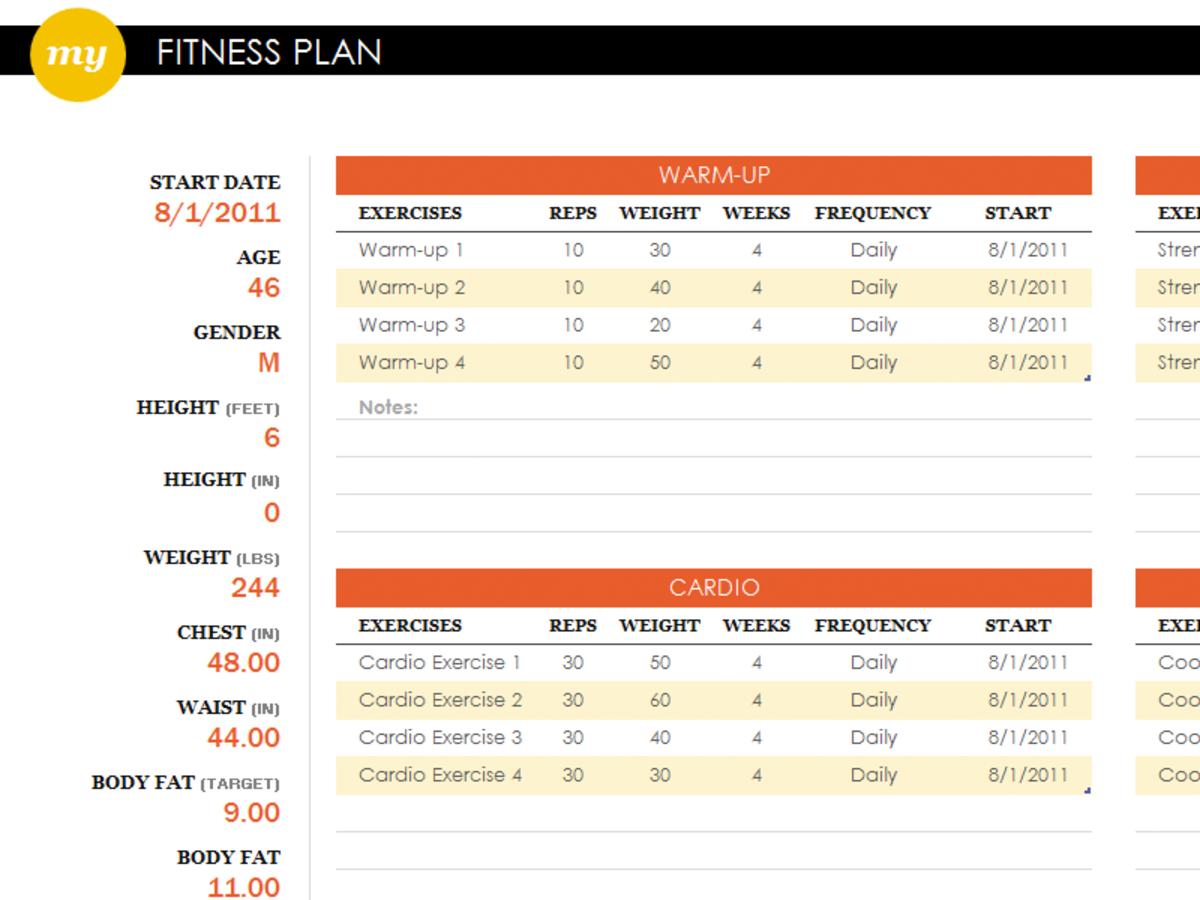 fitness tracker spreadsheet