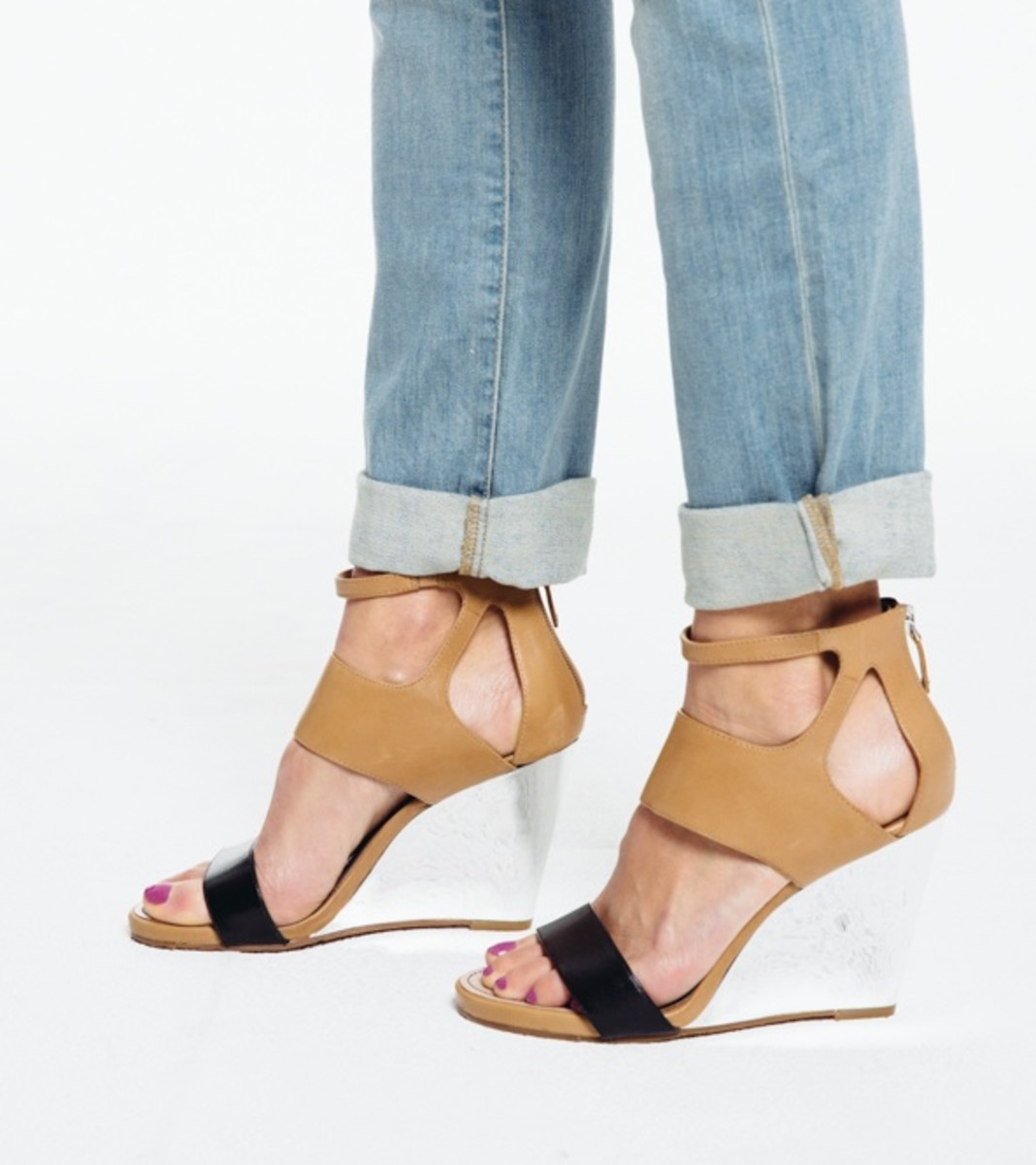 DKNY metallic wedge