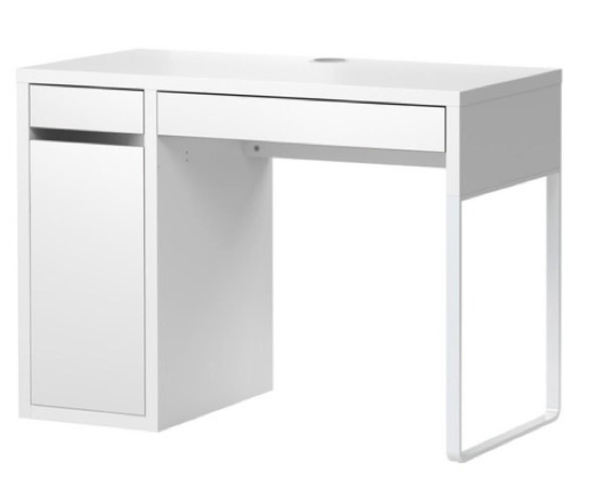 desk with shelves above
