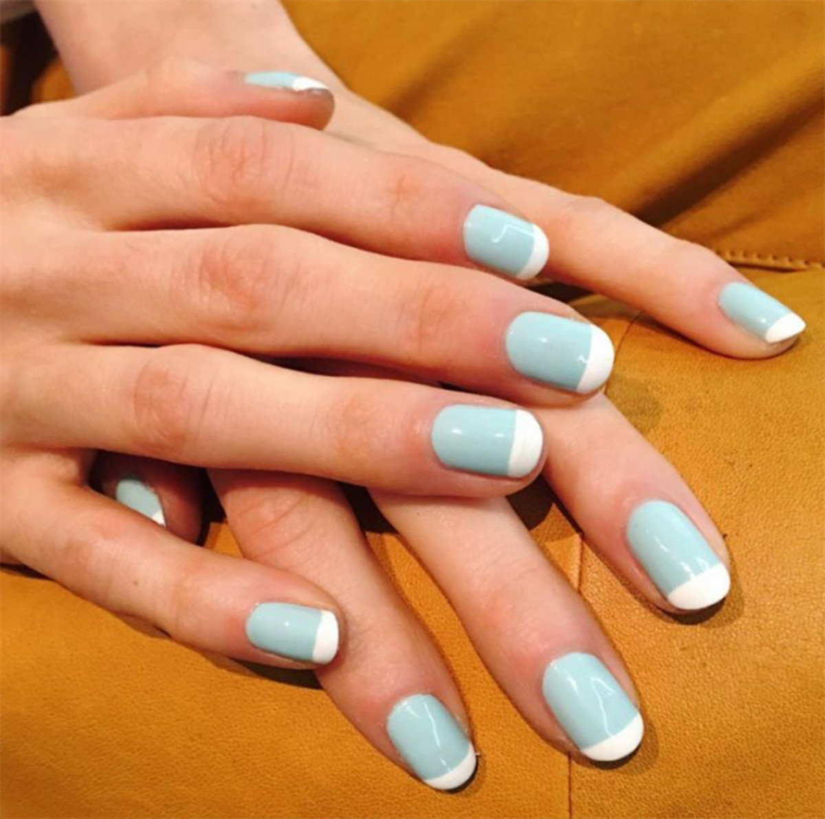 powder blue french mani