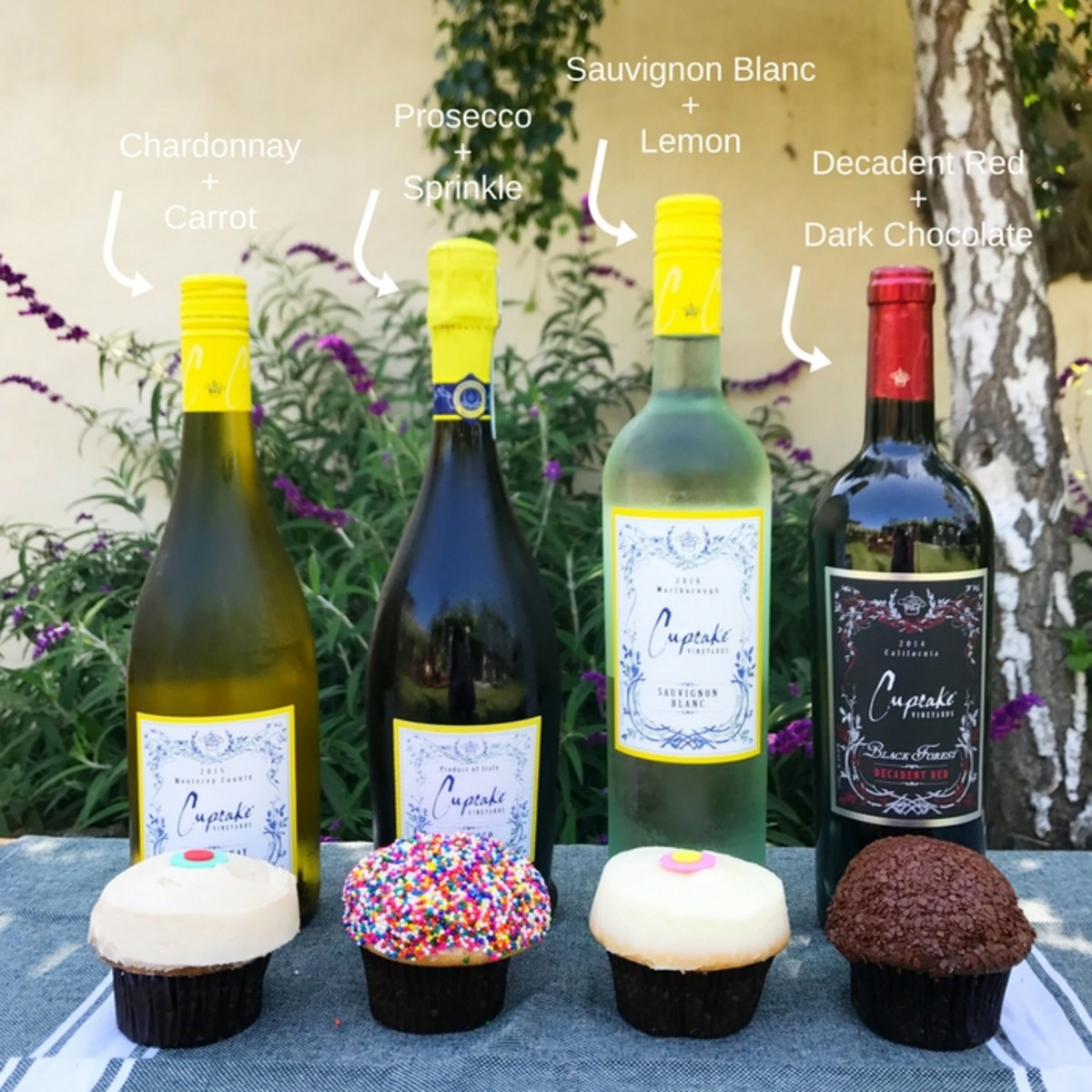 Cupcake Wines and Sprinkle Cupcakes
