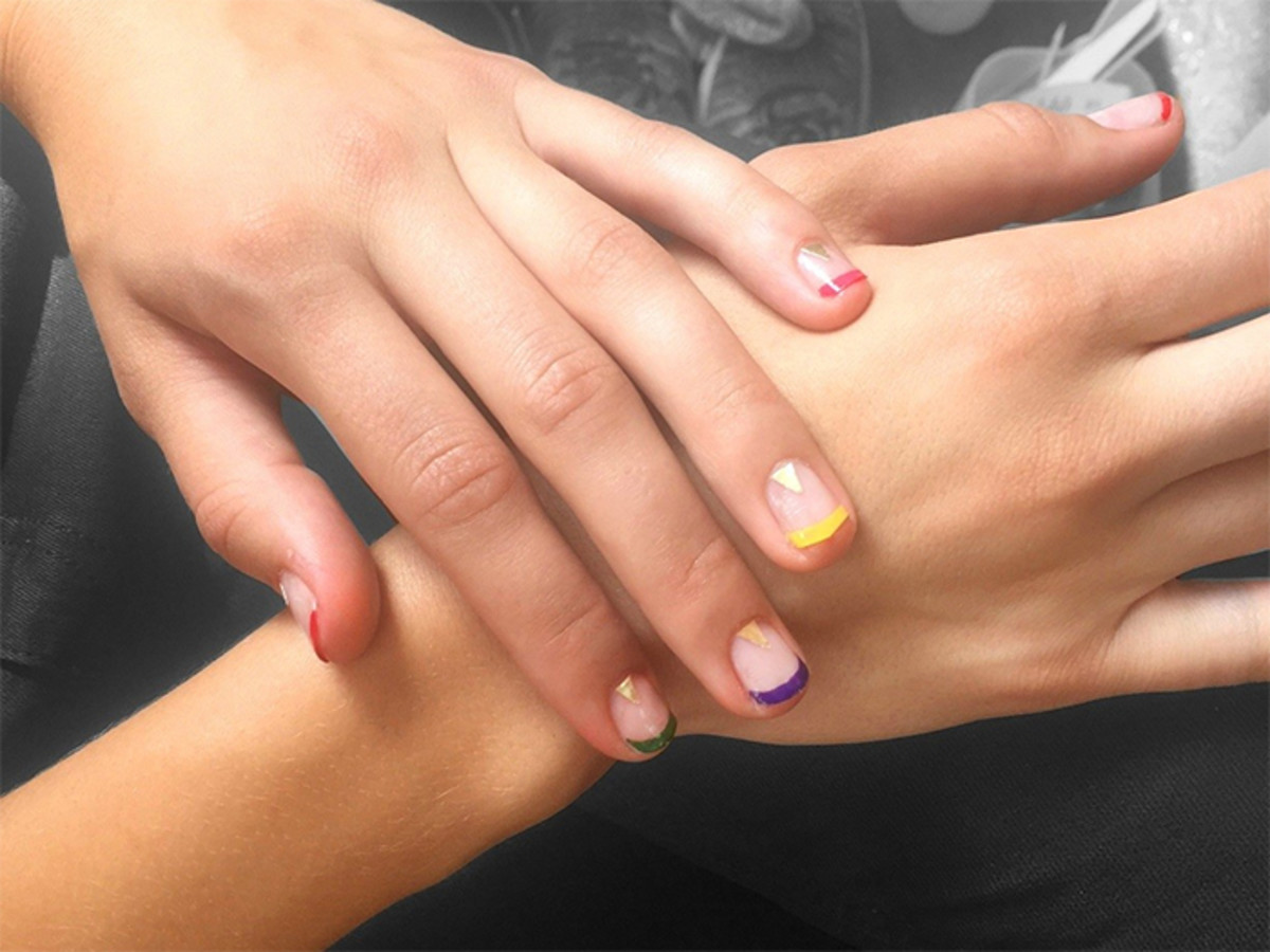 multicolored french manicure