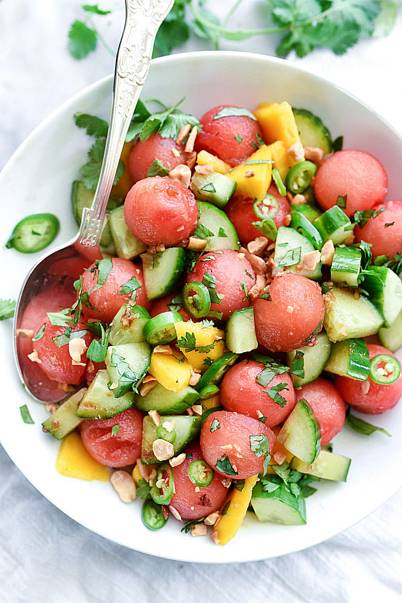 cucumber watermelon basil salad