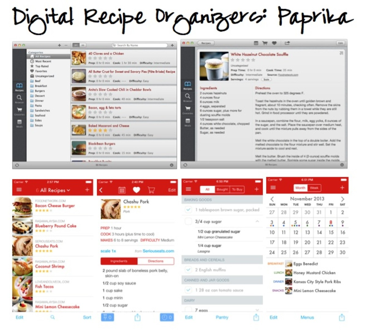 digital online recipe organization