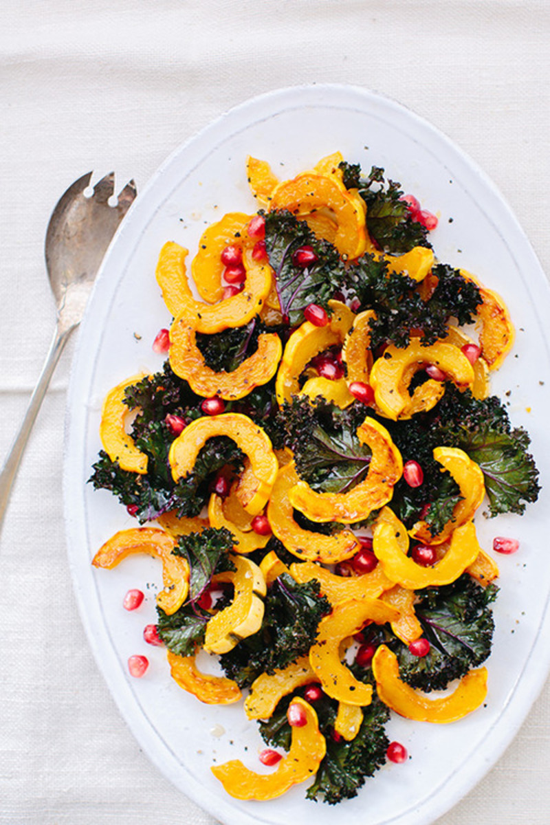 Kale, Delicata Squash and Pomegranate Salad