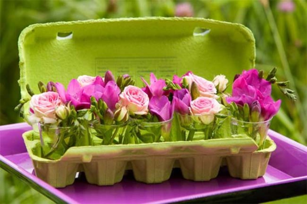 spring centerpiece egg carton