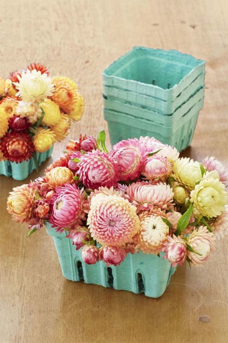 spring centerpiece strawberry carton