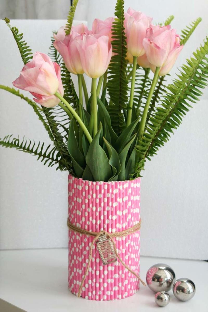 spring centerpiece straw vase