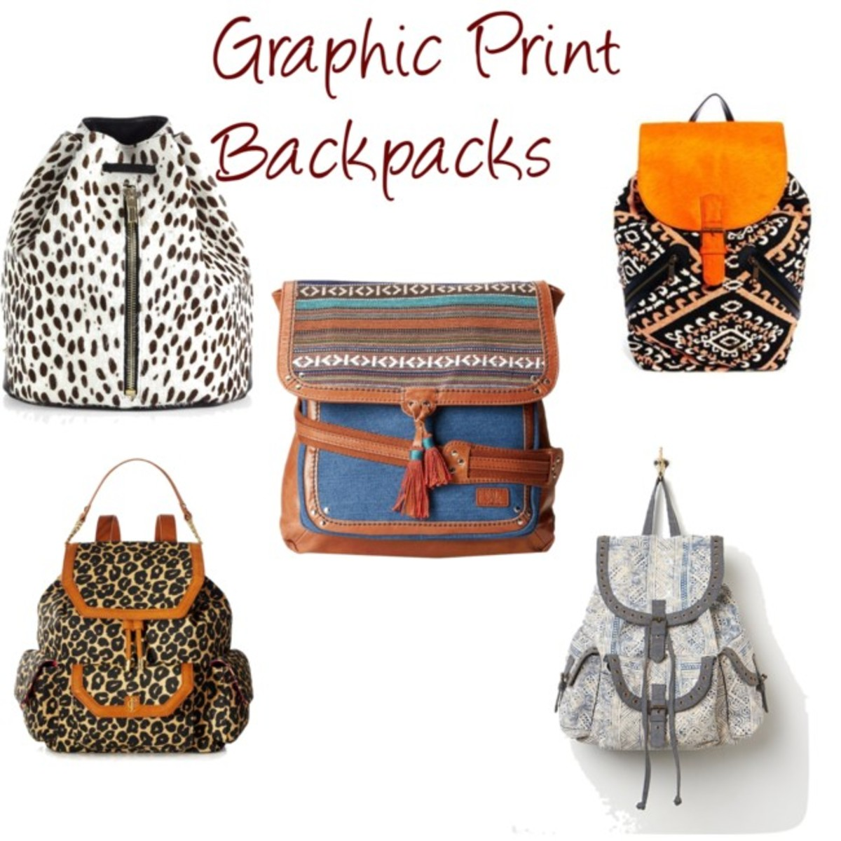 graphic print backpacks