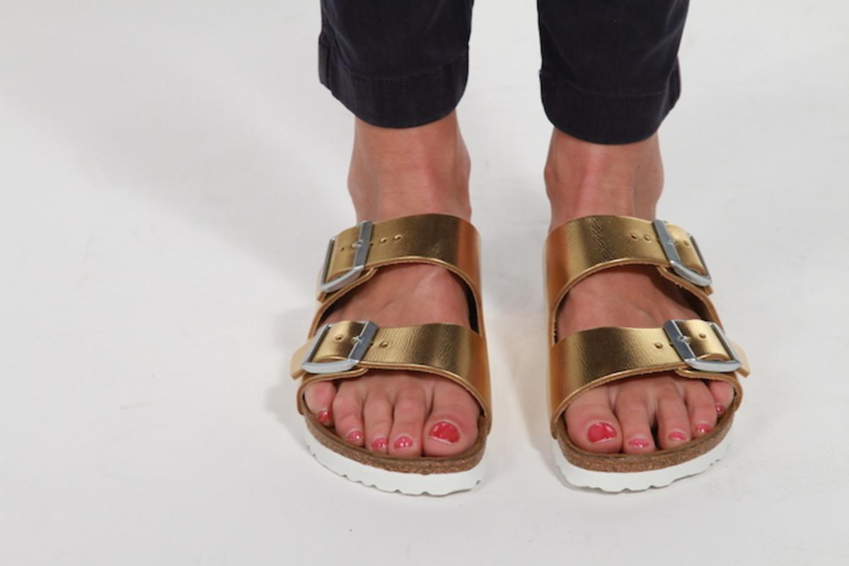 gold birkenstocks