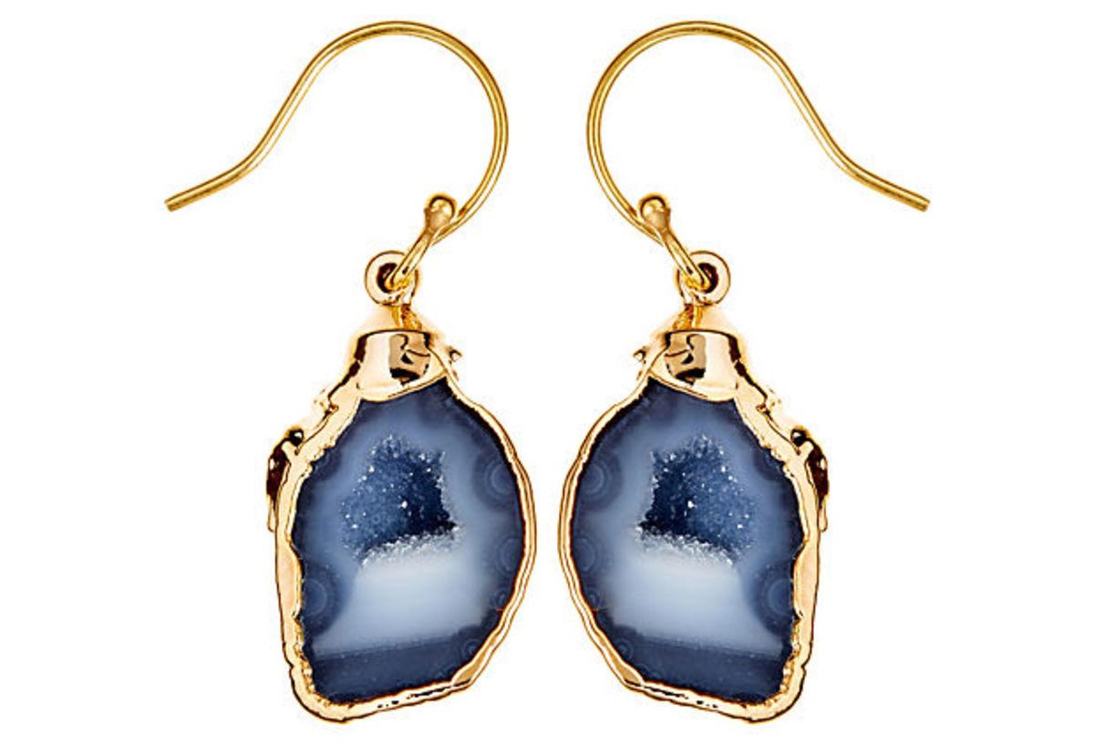 BlackGrey Geode Earrings