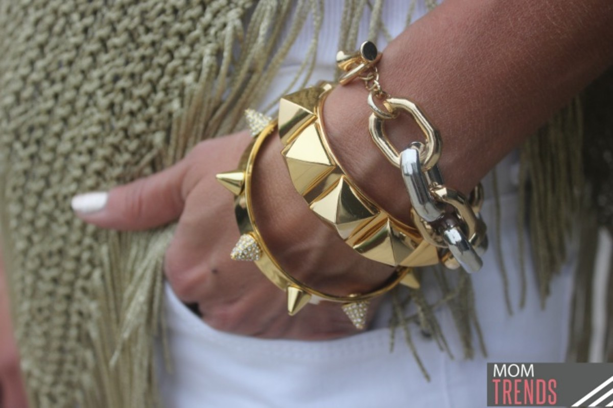 gold bangles stacked
