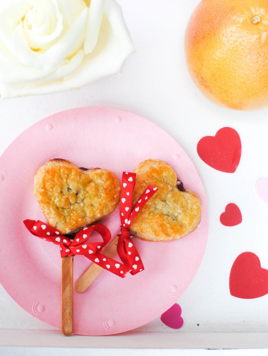 heart tarts on table_