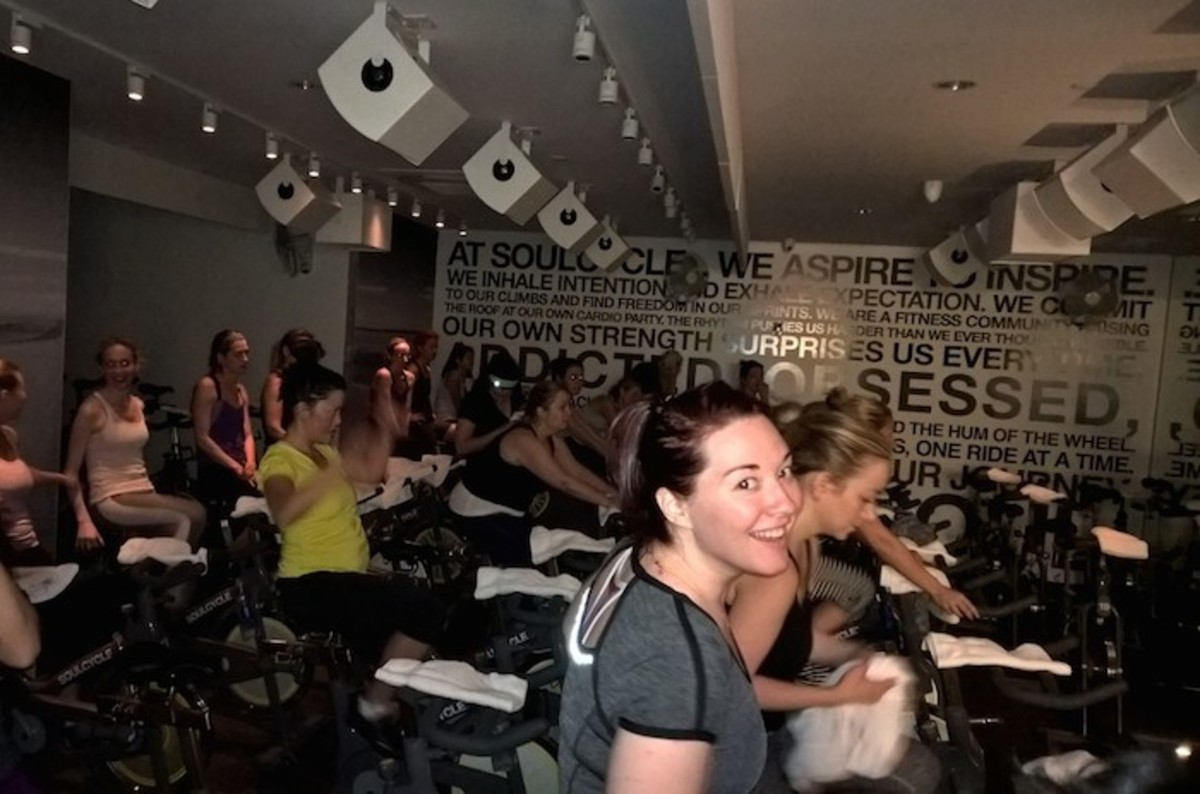 team momtrends at soul cycle
