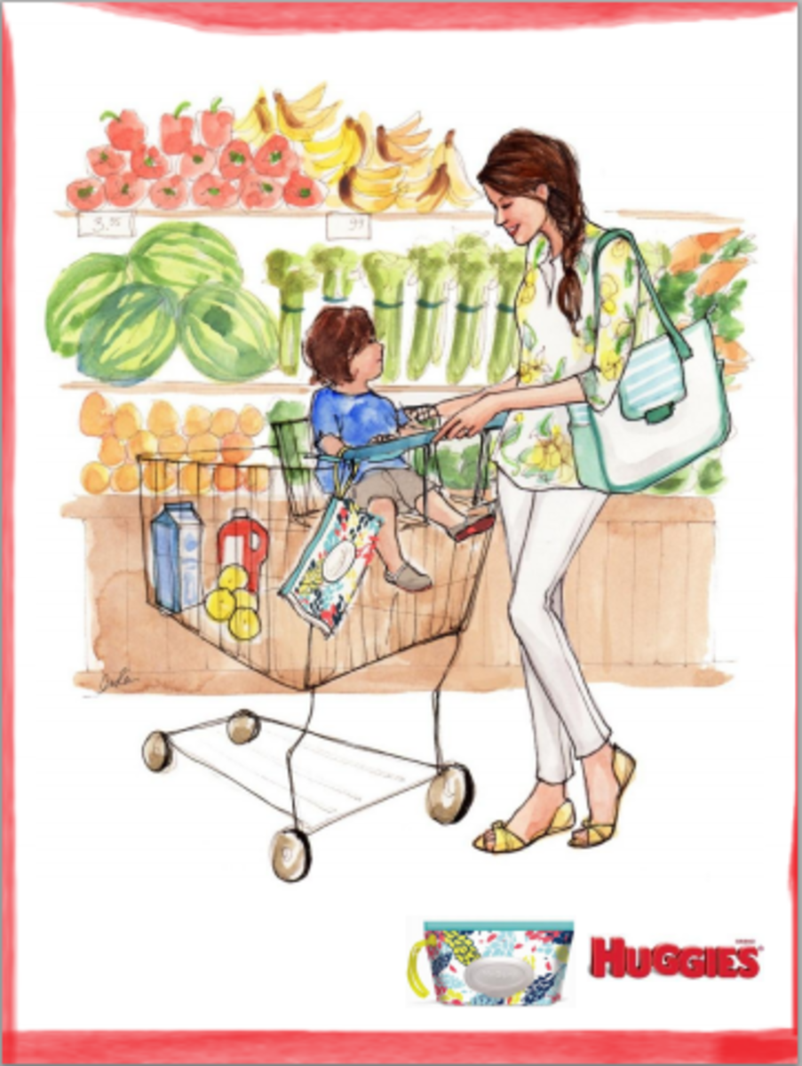 cute mom in a grocery store, mom illustration