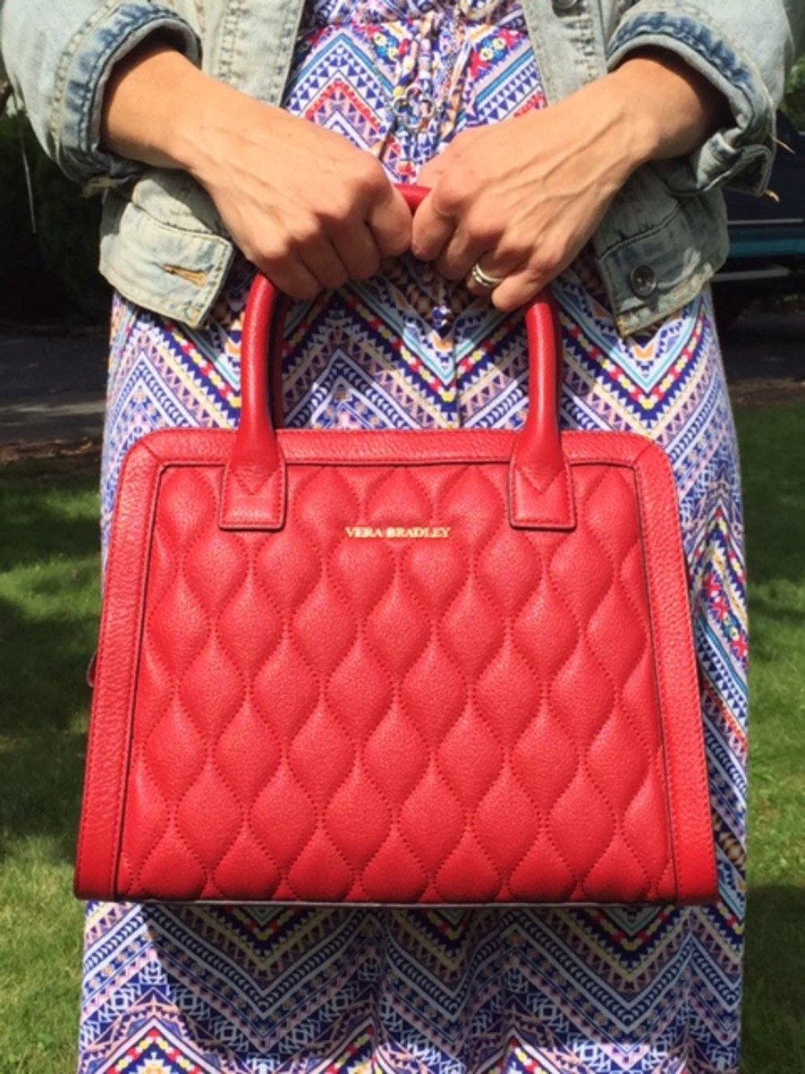 vera bradley red structured bag quilted