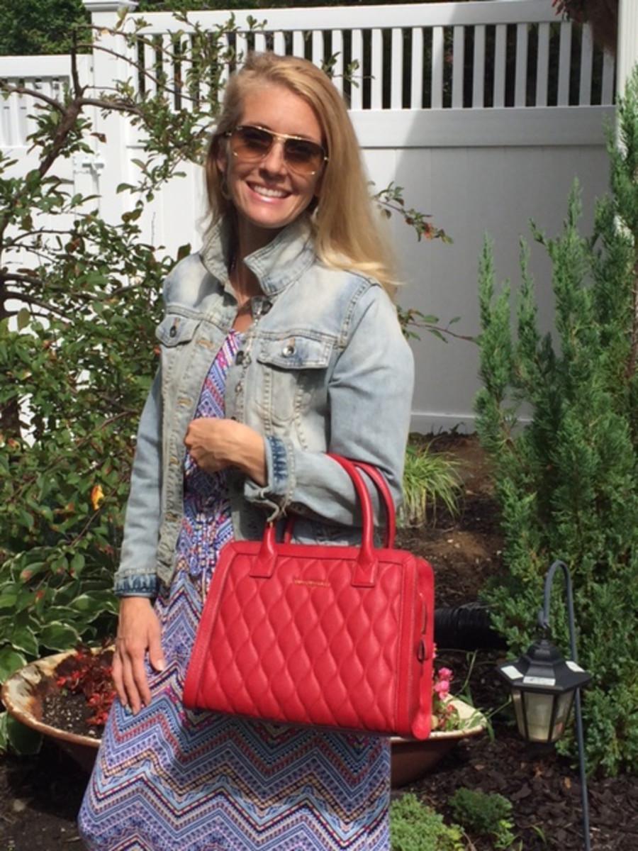 vera bradley red structured bag
