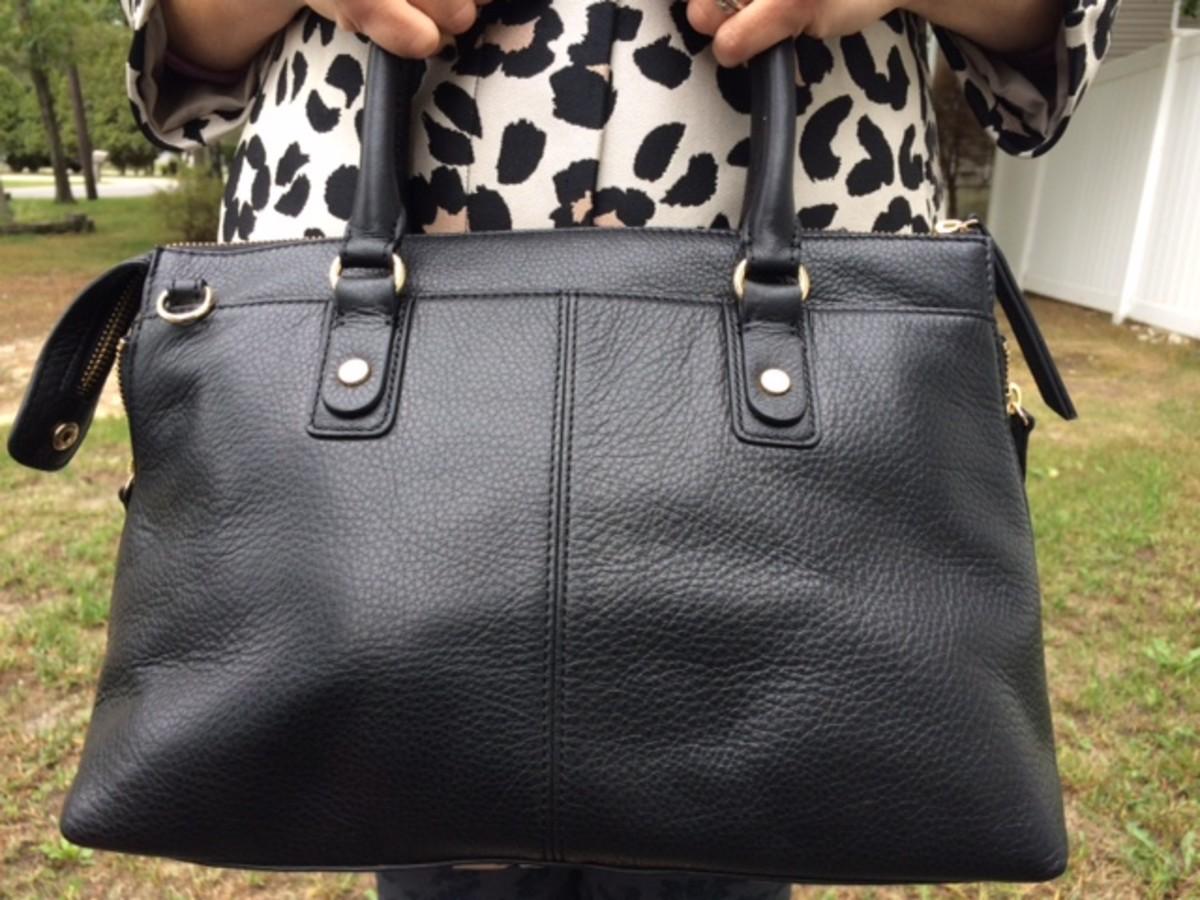 landsend structured bag, regatta bag, pebbled leather