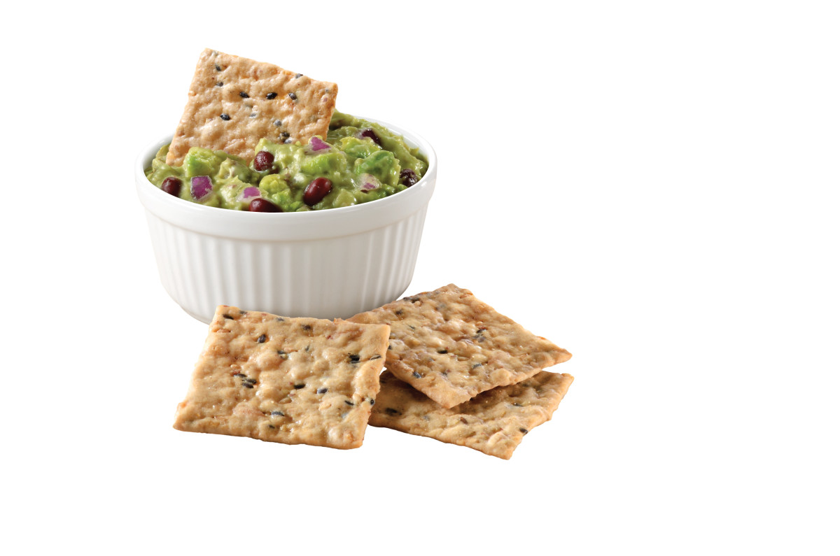Avocado and Bean Dip - On Artisan Sesame Nut-Thins