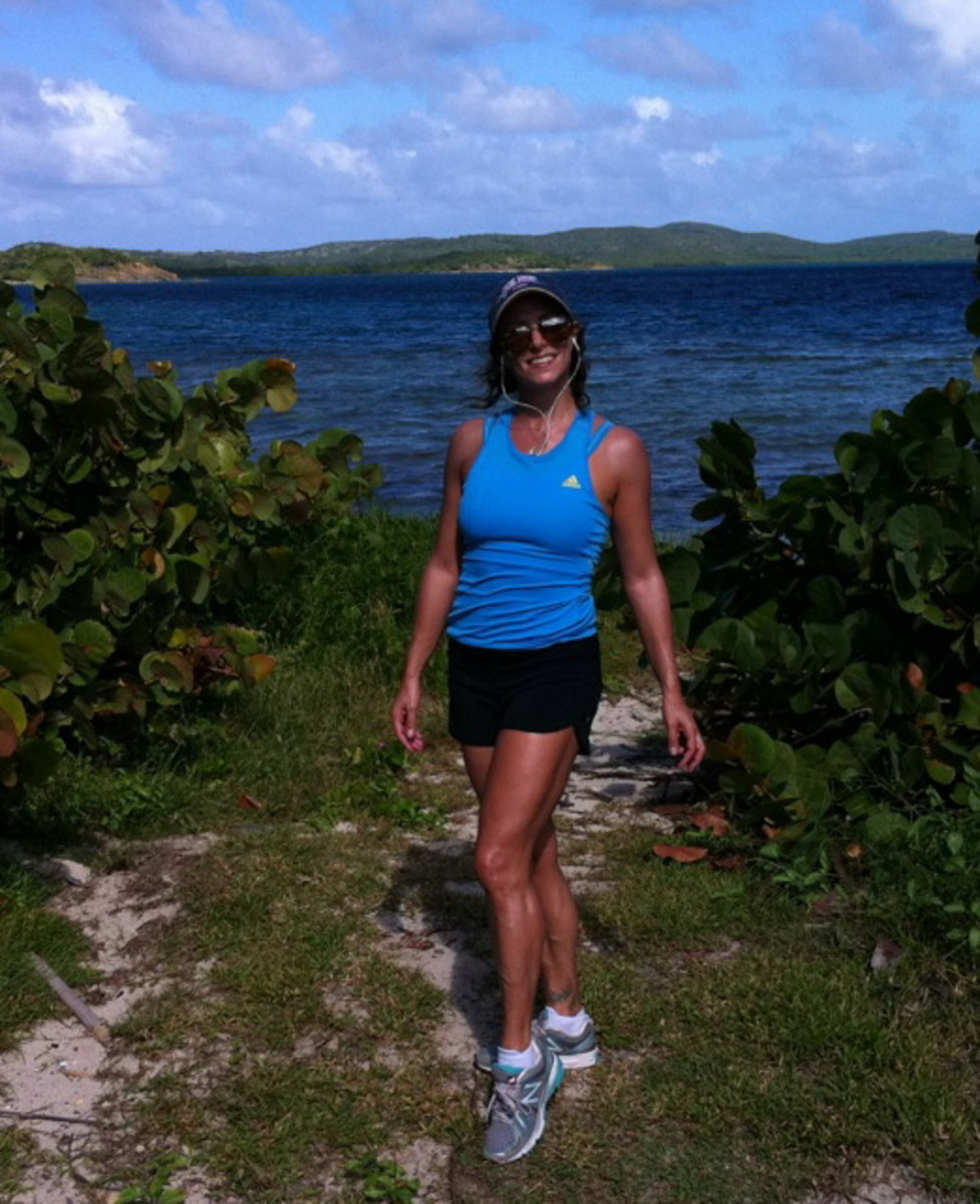 running the trails in Vieques PR in my New Balance Minimus